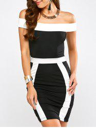 Color Block Off The Shoulder Bandage Dress - WHITE AND BLACK