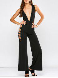 Sleeveless Plunge Cut Out Jumpsuit