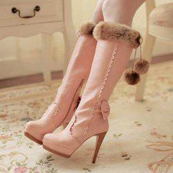 High Heel Scalloped Pompon Mid Calf Boots -