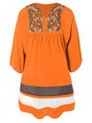 Embroidered Bib Casual Dress
