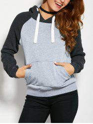 Color Block Drawstring Hoodie with Front Pocket