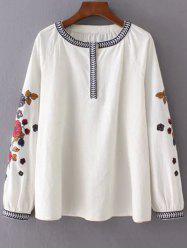 Bubble Sleeve Embroidered Blouse - OFF WHITE L
