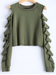 Split Sleeve Crew Neck Cropped Sweatshirt - ARMY GREEN L