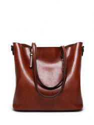 Metal Buckles PU Leather Shoulder Bag -