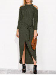 Cold Shoulder Asymmetric Knitted Maxi Jumper Dress -