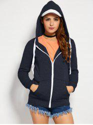 Zip Up Hoodie - PURPLISH BLUE M