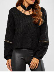 Chunky Zipper Design Sweater with Knitted Choker