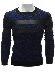 Crew Neck PU Leather Stripe Spliced Sweater