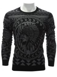 Crew Neck Ethnic Style Indian Graphic Sweater