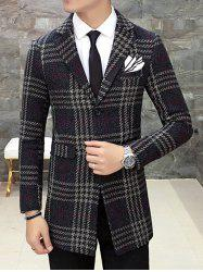 Single Breasted Lapel Wool Mix Checkered Coat -