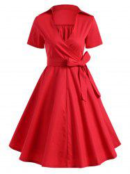 Retro Hepburn Style Bowknot Belted Wrap Dress - RED 2XL