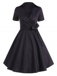 Retro Hepburn Style Bowknot Belted Wrap Dress