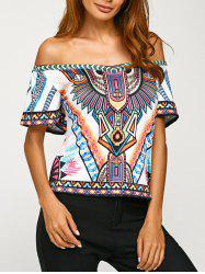 Off Shoulder Backless Tribal Print T-Shirt