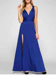 Crisscross Backless Side Split Maxi Prom Dress