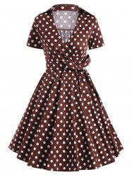 Retro Hepburn Style Polka Dot Bowknot Belted Wrap Dress