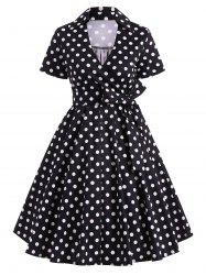 Retro Hepburn Style Polka Dot Bowknot Belted Swing Wrap Dress - BLACK S
