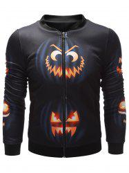 Wicked Pumpkin Printed Zip Up Halloween Jacket -