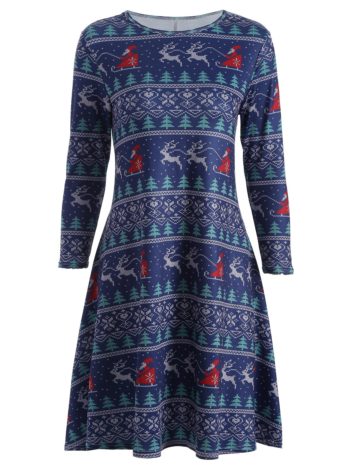 Christmas Elk Print Swing DressWOMEN<br><br>Size: ONE SIZE; Color: DEEP BLUE; Style: Cute; Material: Polyester; Silhouette: A-Line; Dresses Length: Knee-Length; Neckline: Jewel Neck; Sleeve Length: 3/4 Length Sleeves; Pattern Type: Print; With Belt: No; Season: Fall,Spring; Weight: 0.320kg; Package Contents: 1 x Dress;