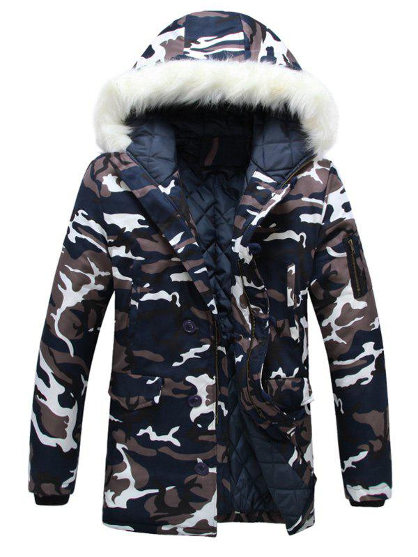 Zip Up Camouflage Fur Hooded Padded CoatMEN<br><br>Size: M; Color: CAMOUFLAGE; Clothes Type: Padded; Style: Casual; Material: Cotton,Polyester; Collar: Hooded; Shirt Length: Regular; Sleeve Length: Long Sleeves; Season: Winter; Weight: 1.0900kg; Package Contents: 1 x Coat;