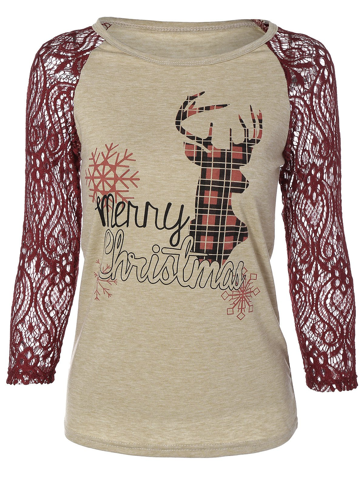 Discount Christmas Elk Print Lace Paneled T-Shirt