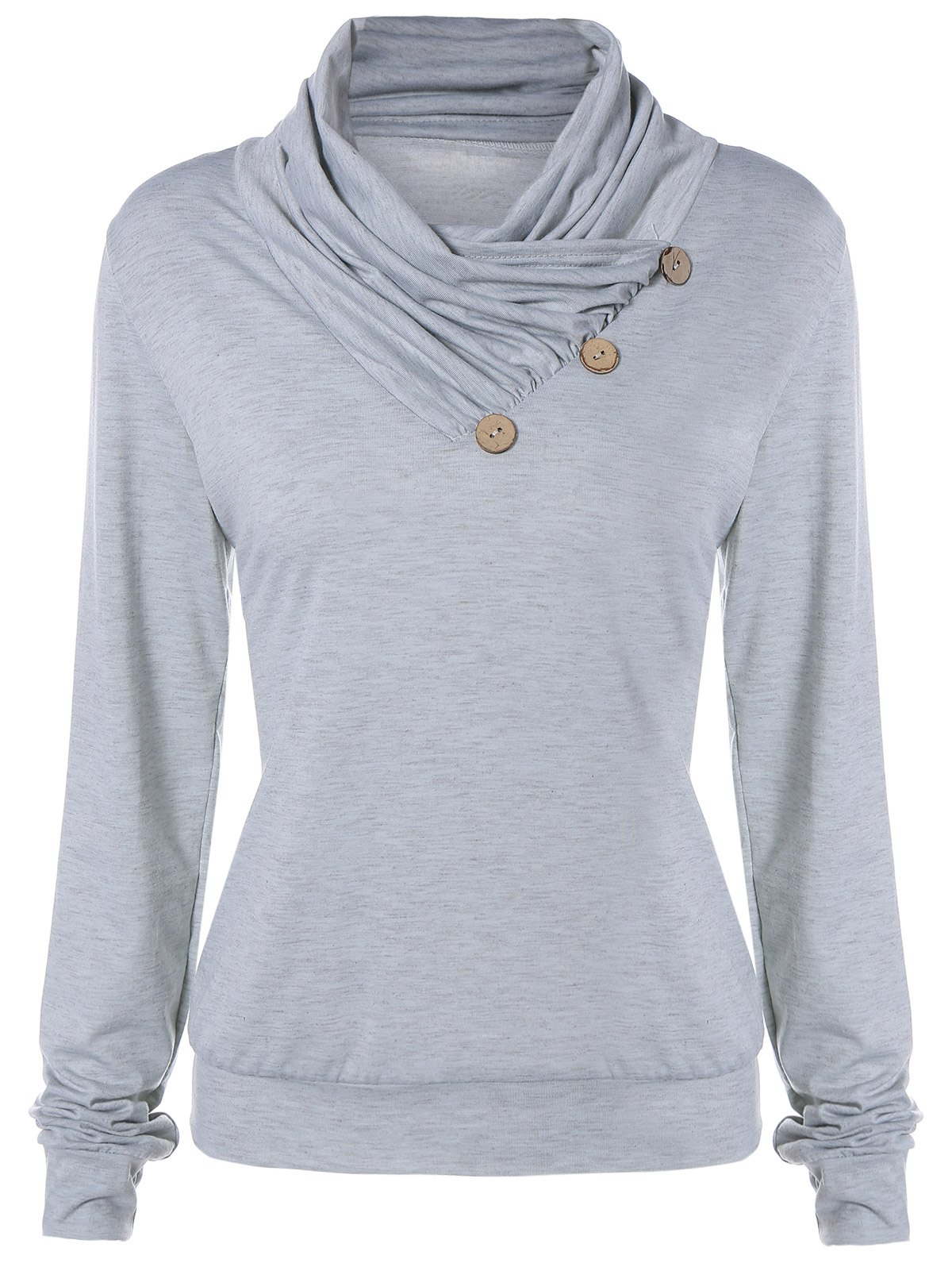 Outfits Cowl Neck Long Sleeve Button Tee