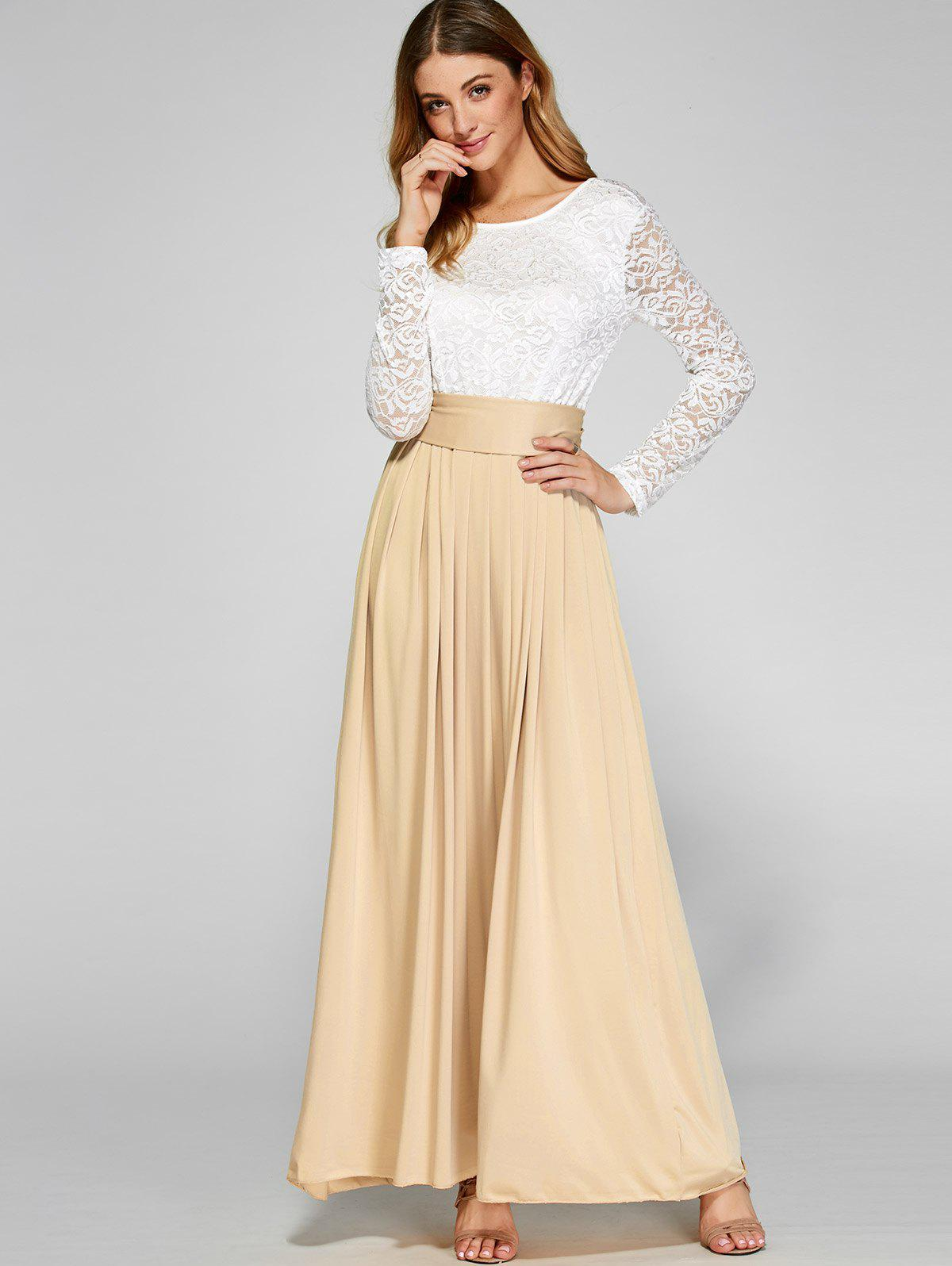 Wedding Guest Dresses Lace : Dresses ? maxi lace panel pleated long wedding guest dress