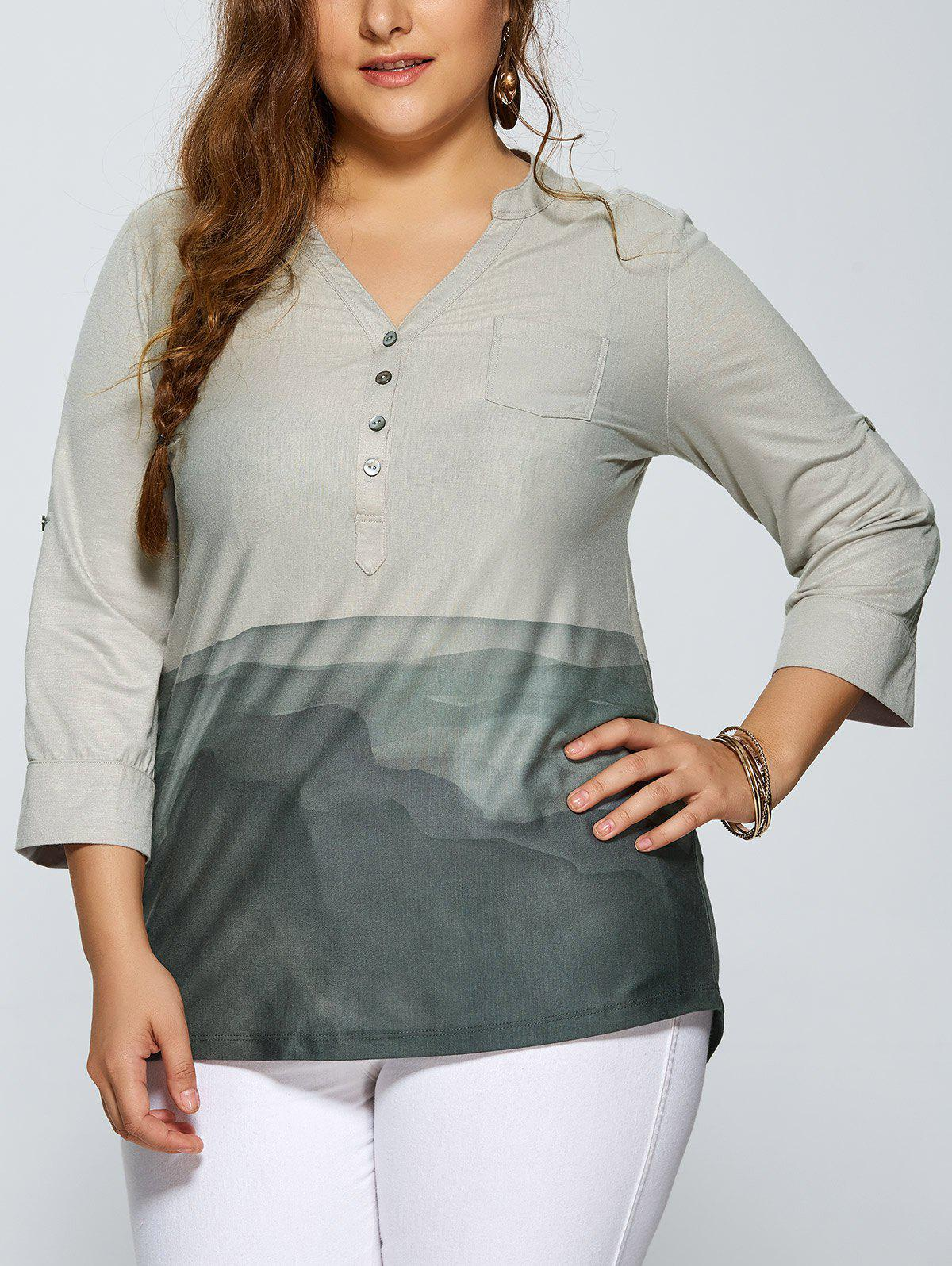 Chemisier grande taille a col V Gris XL