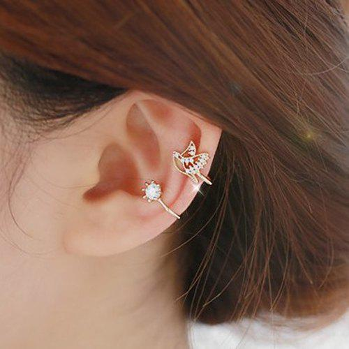ONE PIECE Rhinestone Ear CuffJEWELRY<br><br>Color: ROSE GOLD; Earring Type: Ear Cuff; Gender: For Women; Style: Trendy; Shape/Pattern: Others; Weight: 0.030kg; Package Contents: 1 x Ear Cuff (PIECE);