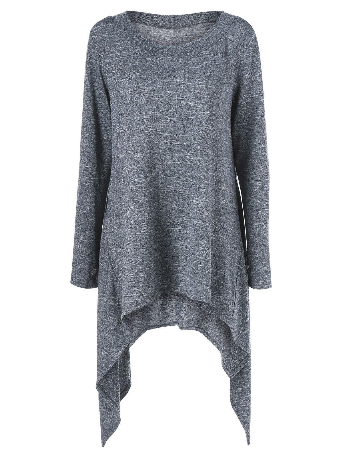 Thumb Hole Asymmetrical SweaterWOMEN<br><br>Size: XL; Color: DEEP GRAY; Type: Cardigans; Material: Polyester,Spandex; Sleeve Length: Full; Collar: Scoop Neck; Style: Casual; Pattern Type: Solid; Season: Fall,Spring,Winter; Weight: 0.400kg; Package Contents: 1 x Sweater;