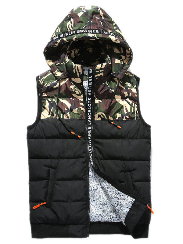 Fancy Zip Up Camo Panel Hooded Vest