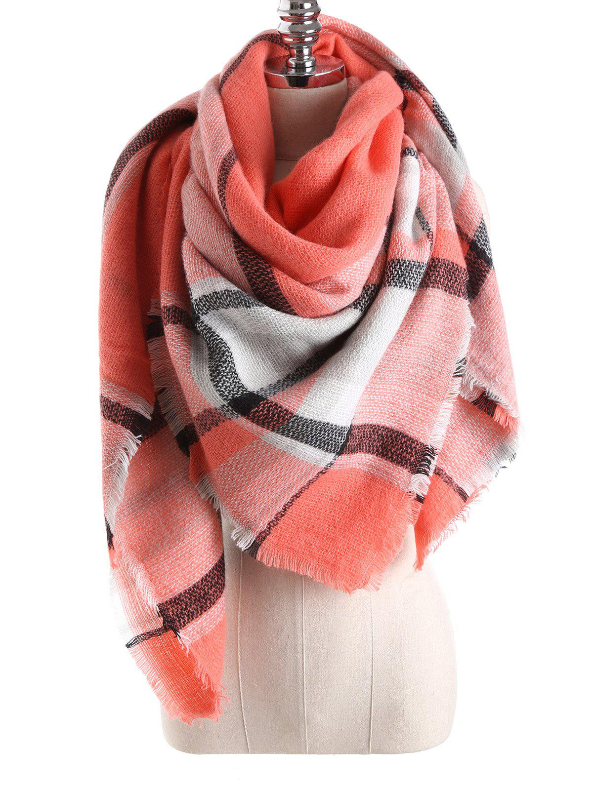 Warm Tartan Plaid Blanket Shawl ScarfACCESSORIES<br><br>Color: ORANGEPINK; Scarf Type: Scarf; Group: Adult; Gender: For Women; Style: Fashion; Material: Acrylic; Season: Fall,Winter; Scarf Length: 140CM; Scarf Width (CM): 140CM; Weight: 0.270kg; Package Contents: 1 x Scarf;