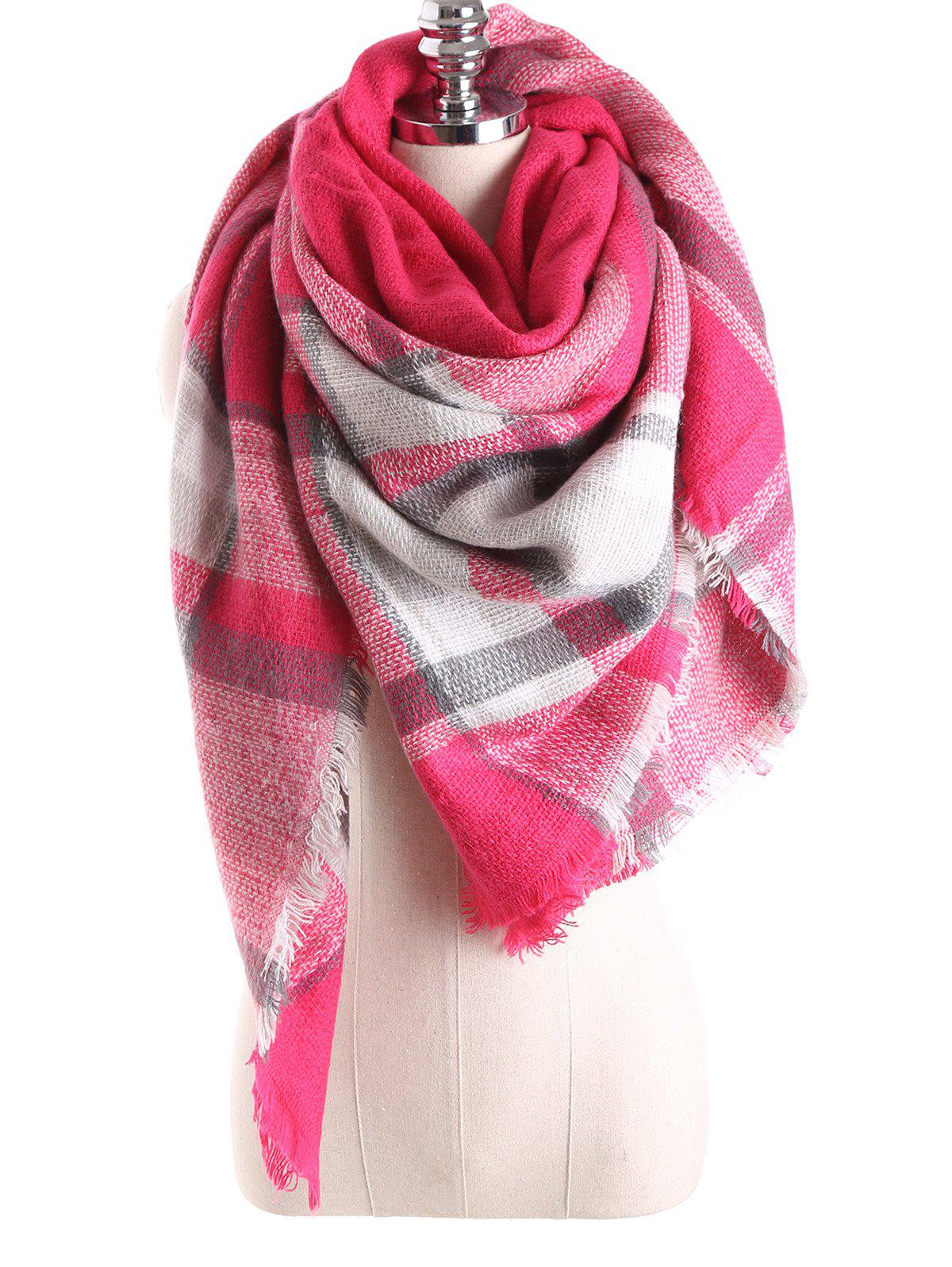 Warm Tartan Plaid Blanket Shawl ScarfACCESSORIES<br><br>Color: BRIGHT PINK; Scarf Type: Scarf; Group: Adult; Gender: For Women; Style: Fashion; Material: Acrylic; Season: Fall,Winter; Scarf Length: 140CM; Scarf Width (CM): 140CM; Weight: 0.270kg; Package Contents: 1 x Scarf;