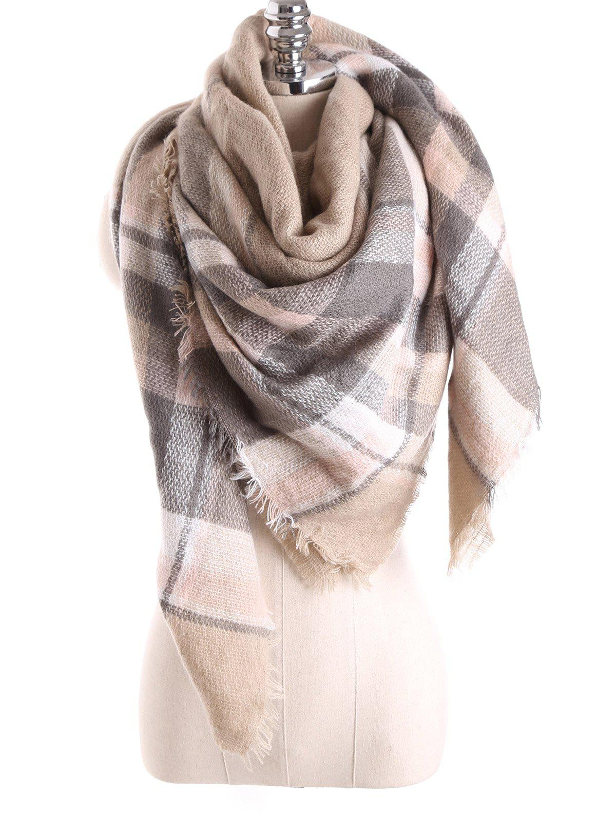 Warm Tartan Plaid Blanket Shawl ScarfACCESSORIES<br><br>Color: LIGHT KHAKI; Scarf Type: Scarf; Group: Adult; Gender: For Women; Style: Fashion; Material: Acrylic; Season: Fall,Winter; Scarf Length: 140CM; Scarf Width (CM): 140CM; Weight: 0.270kg; Package Contents: 1 x Scarf;