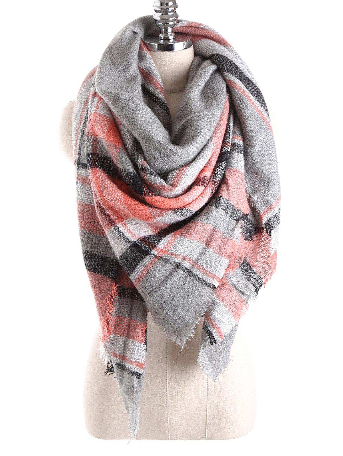 Warm Tartan Plaid Blanket Shawl ScarfACCESSORIES<br><br>Color: GRAY; Scarf Type: Scarf; Group: Adult; Gender: For Women; Style: Fashion; Material: Acrylic; Season: Fall,Winter; Scarf Length: 140CM; Scarf Width (CM): 140CM; Weight: 0.270kg; Package Contents: 1 x Scarf;