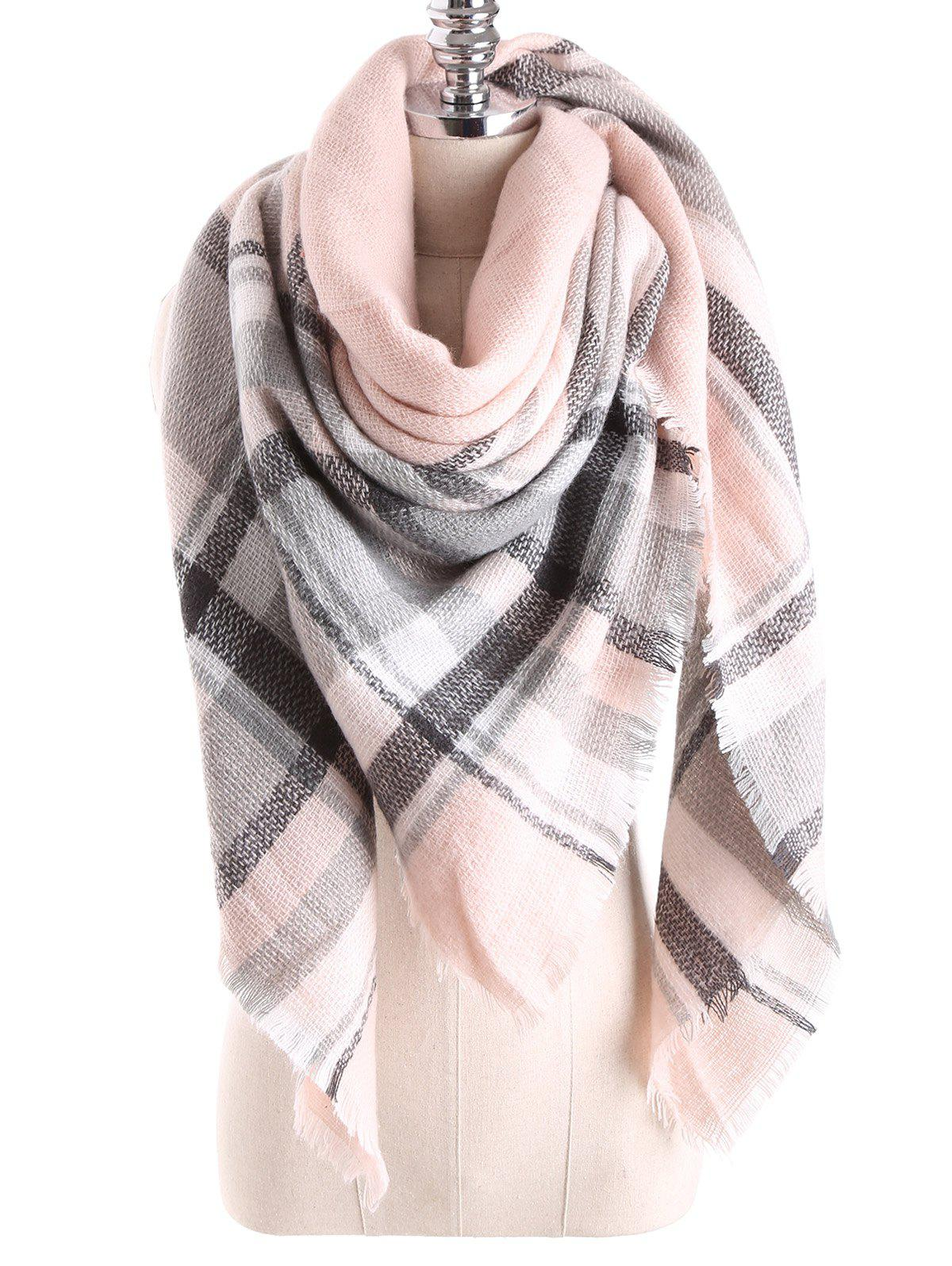 Warm Tartan Plaid Blanket Shawl ScarfACCESSORIES<br><br>Color: PEARL LIGHT PINK; Scarf Type: Scarf; Group: Adult; Gender: For Women; Style: Fashion; Material: Acrylic; Season: Fall,Winter; Scarf Length: 140CM; Scarf Width (CM): 140CM; Weight: 0.270kg; Package Contents: 1 x Scarf;