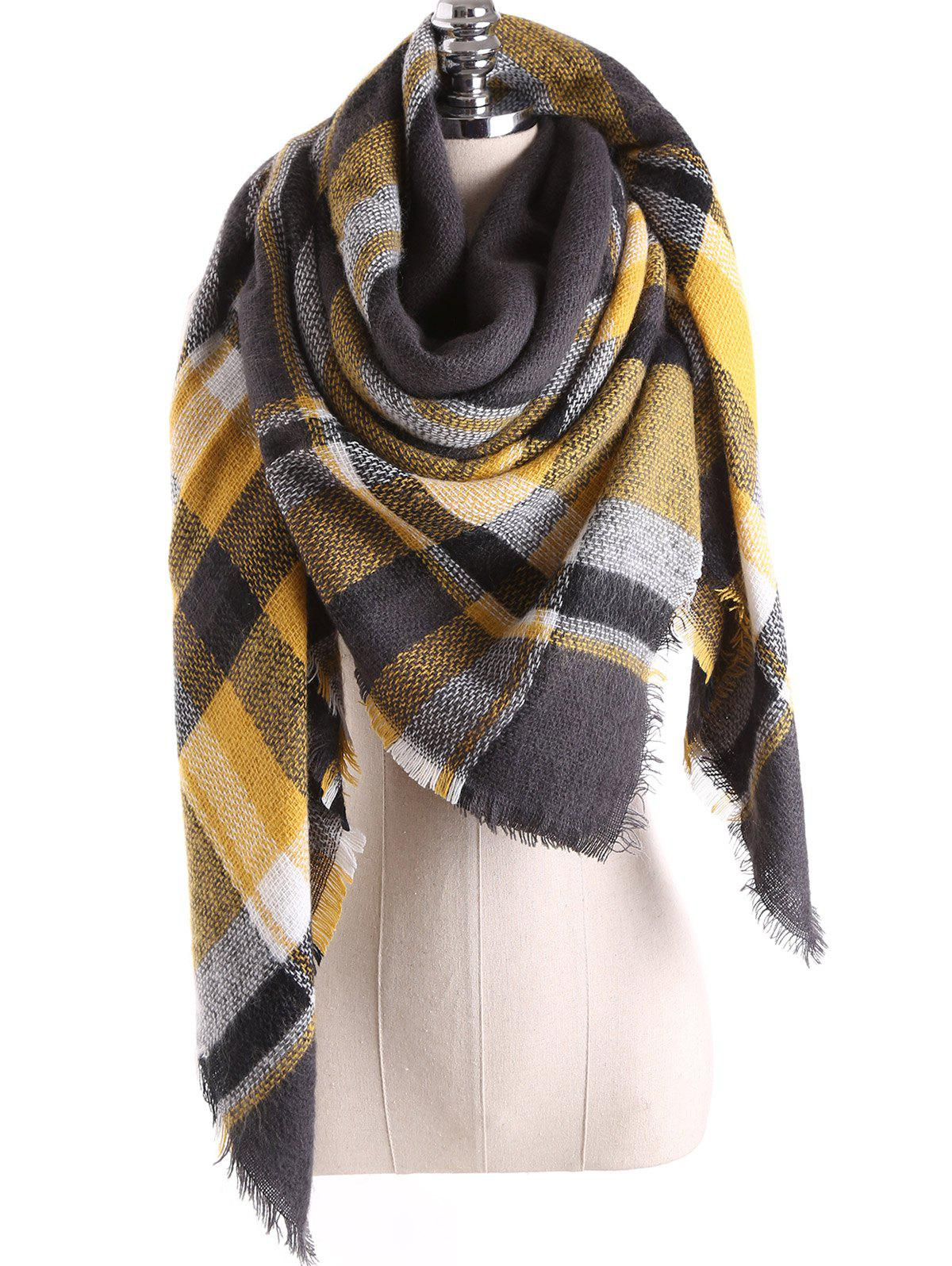 Warm Tartan Plaid Blanket Shawl ScarfACCESSORIES<br><br>Color: CHARCOAL GRAY; Scarf Type: Scarf; Group: Adult; Gender: For Women; Style: Fashion; Material: Acrylic; Season: Fall,Winter; Scarf Length: 140CM; Scarf Width (CM): 140CM; Weight: 0.270kg; Package Contents: 1 x Scarf;