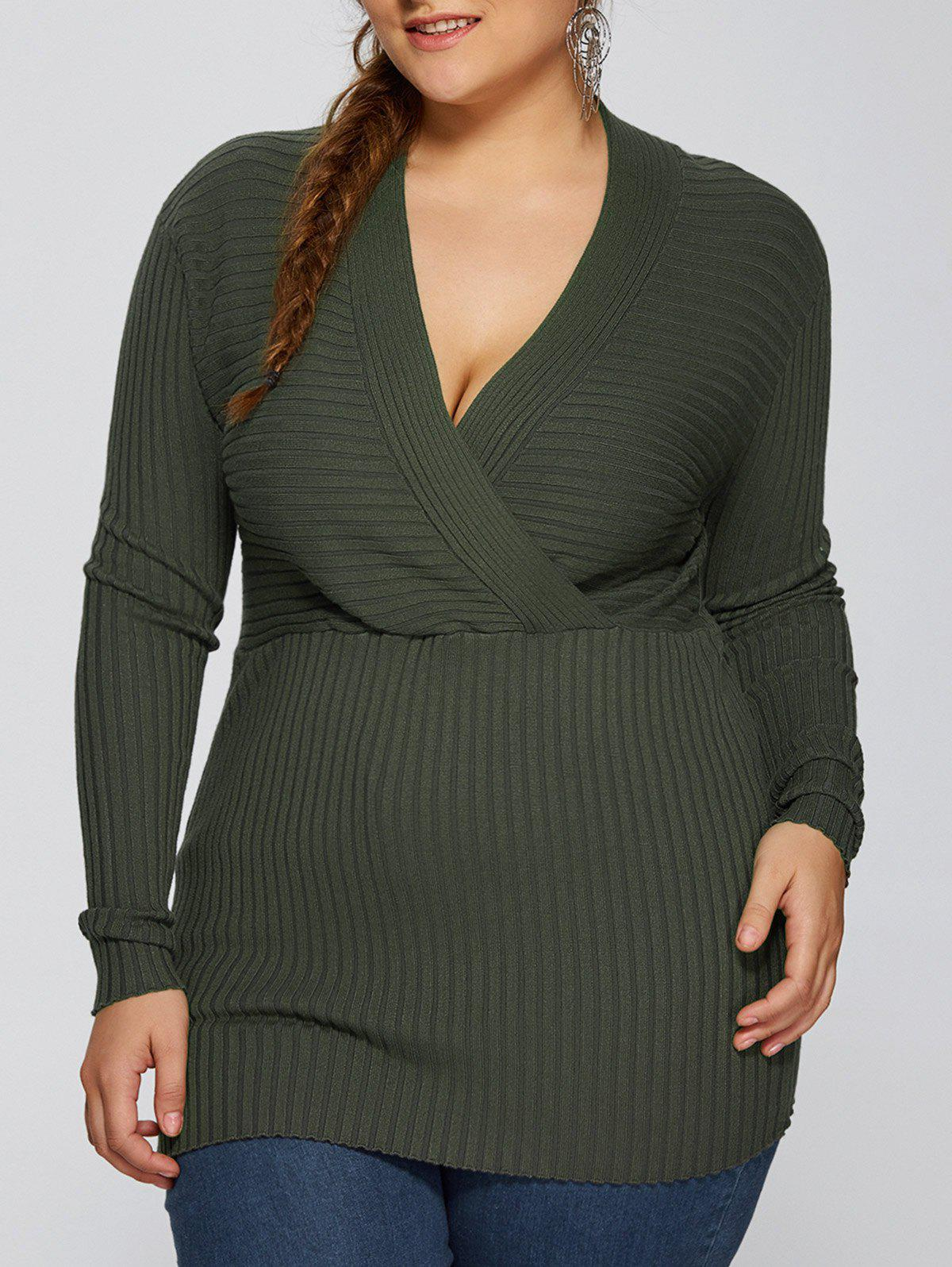 Plus Size V Neck Pullover SweaterWOMEN<br><br>Size: 3XL; Color: ARMY GREEN; Type: Pullovers; Material: Polyester; Sleeve Length: Full; Collar: V-Neck; Style: Fashion; Season: Fall,Spring; Pattern Type: Solid; Weight: 0.380kg; Package Contents: 1 x Sweater;