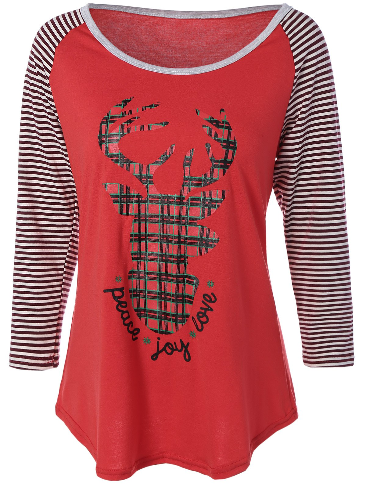 Reindeer Striped Raglan Sleeve Christmas T-ShirtWOMEN<br><br>Size: XL; Color: RED; Material: Cotton Blends; Shirt Length: Regular; Sleeve Length: Three Quarter; Collar: Scoop Neck; Style: Casual; Season: Fall,Spring,Winter; Embellishment: Pattern; Pattern Type: Animal; Weight: 0.183kg; Package Contents: 1 x Tee;