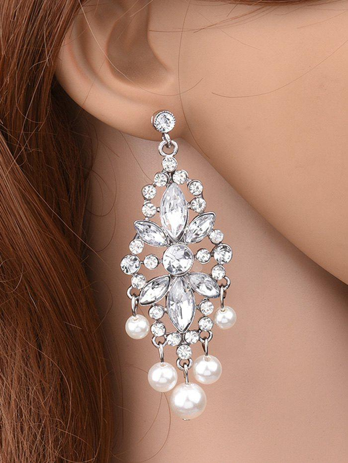 Hollow Rhinestone Faux Pearl Beaded EarringsJEWELRY<br><br>Color: SILVER WHITE; Earring Type: Drop Earrings; Gender: For Women; Material: Pearl; Metal Type: Silver Plated; Style: Noble and Elegant; Shape/Pattern: Others; Weight: 0.030kg; Package Contents: 1 x Earrings(Pair);