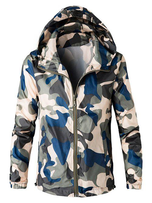 Trendy Zip Up Hooded Camouflage Lightweight Jacket