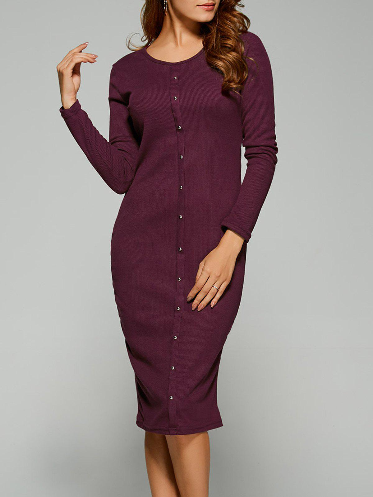 Online Long Sleeve Button Up Knit Sheath Dress