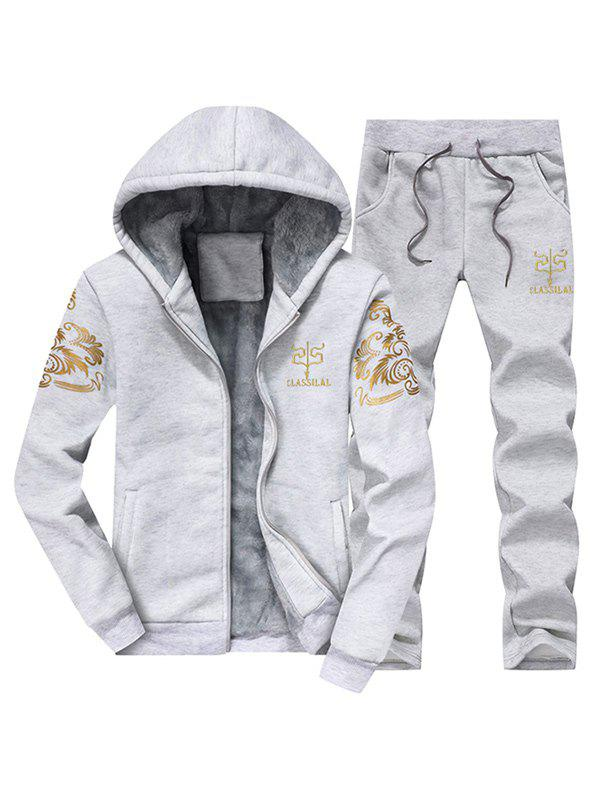 Shops Printed Flocking Hoodie and Drawstring Pants Twinset
