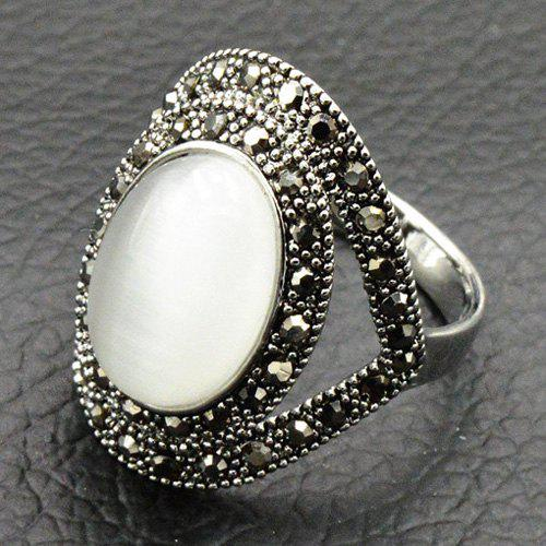 Vintage Artificial Opal Oval RingJEWELRY<br><br>Size: 16; Color: SILVER; Gender: For Women; Metal Type: Alloy; Style: Trendy; Shape/Pattern: Geometric; Weight: 0.0300kg; Package Contents: 1 x Ring;