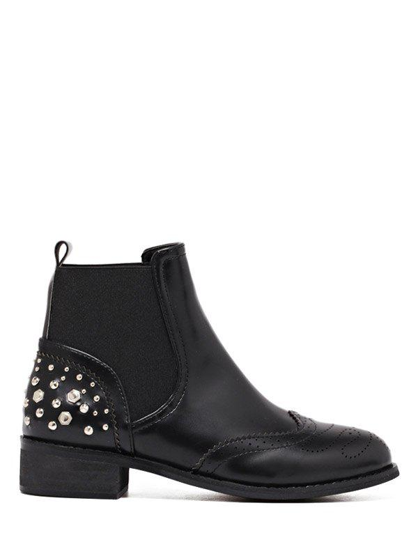 Buy Rivet Engraving PU Leather Short Boots