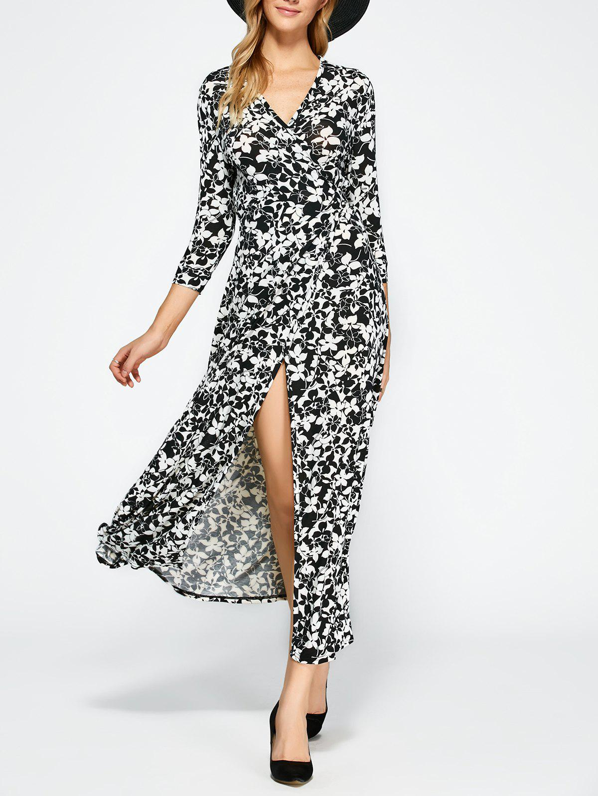 Unique Floral Print Wrap Front Slit Maxi Summer Dress