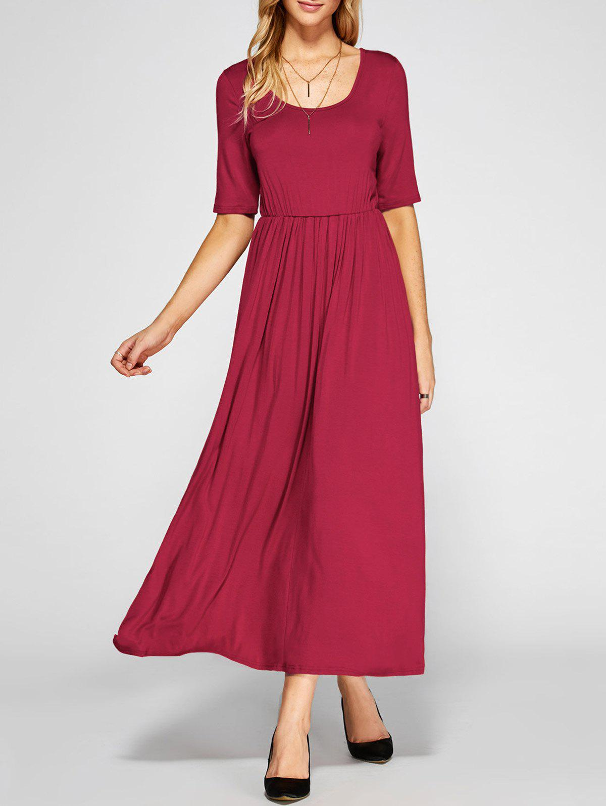 Red Xl Maxi High Waist Pleated A Line Dress | RoseGal.com