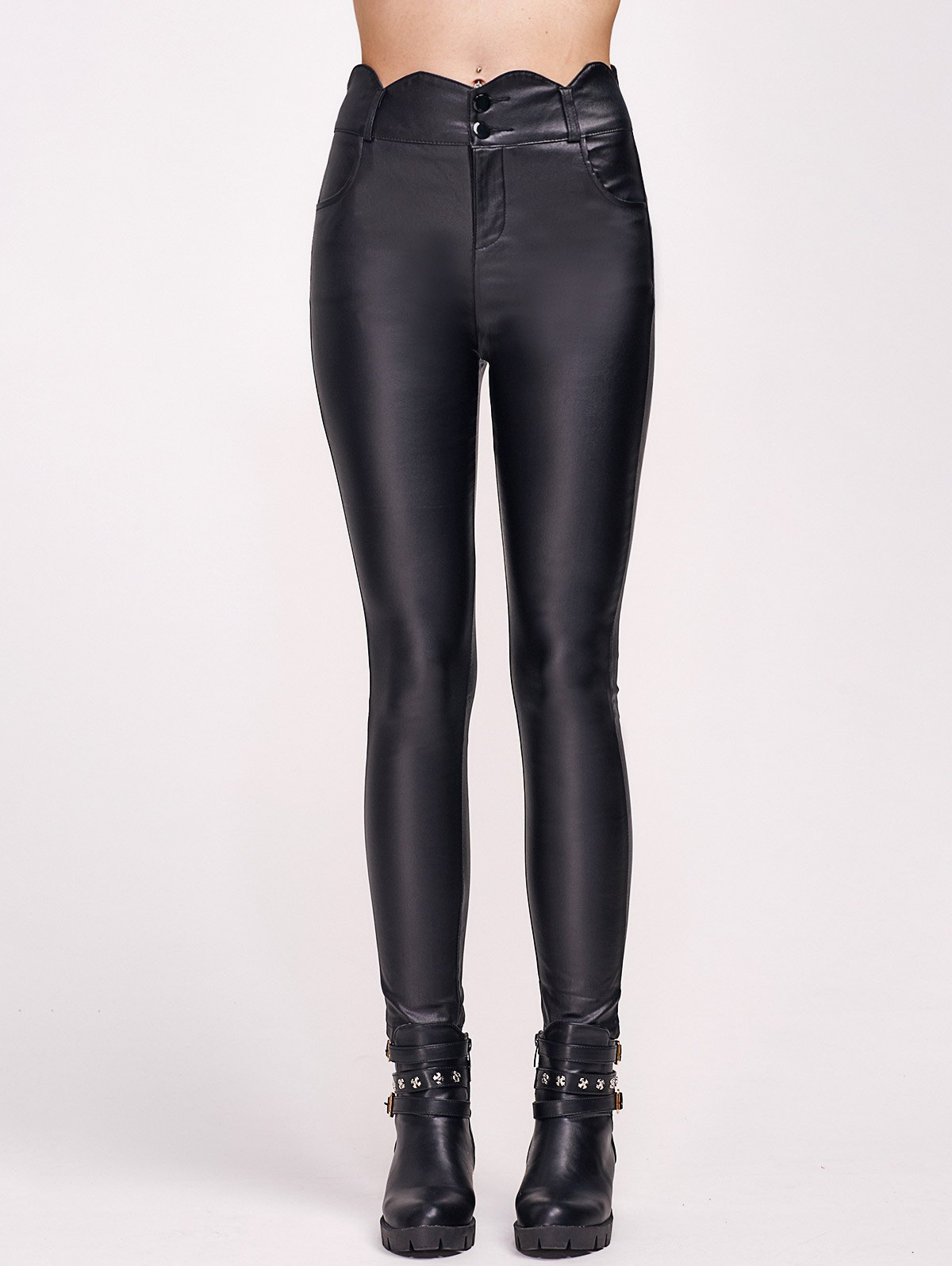Affordable Scalloped Faux Leather High Waist Pants