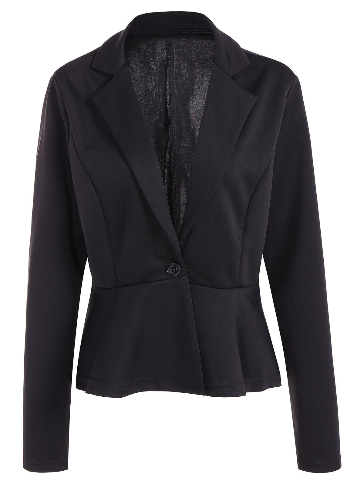 Chic Fitted One Button Jacket Peplum Blazer