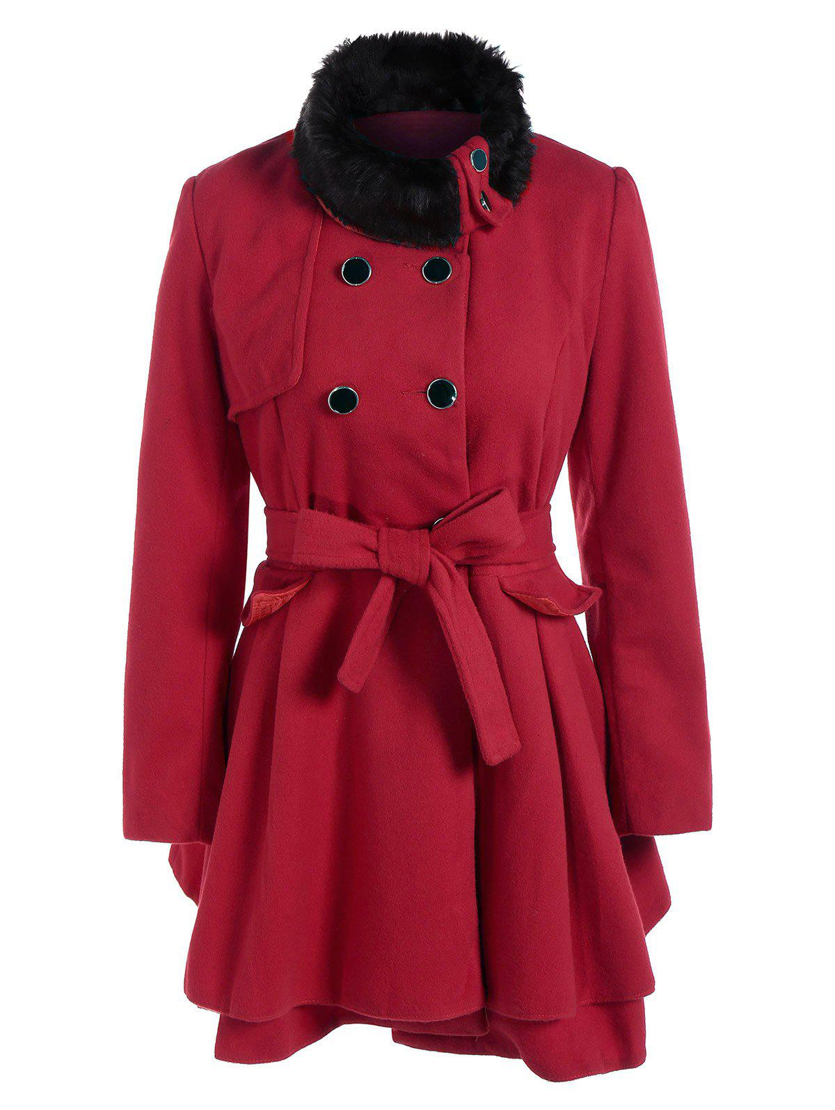 Outfits Double Breasted Furry Collar A Line Wool Coat