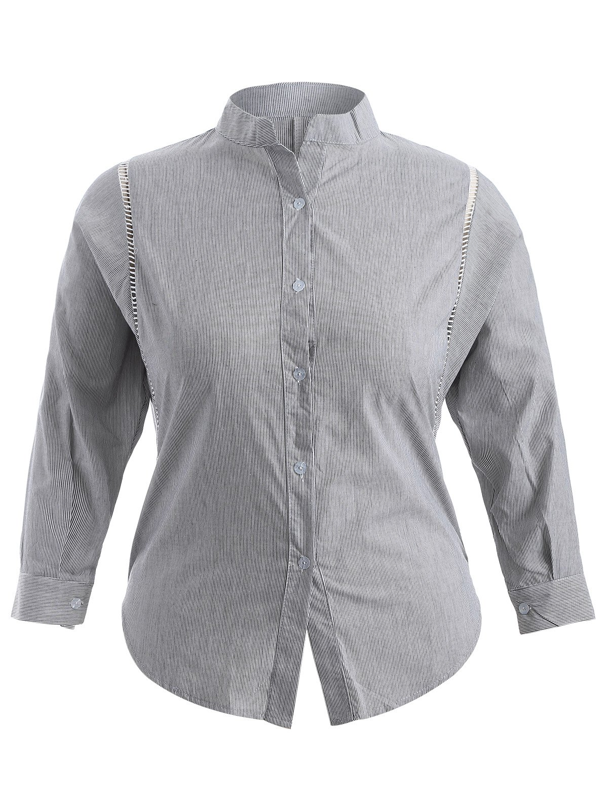 Discount Plus Size Pinstriped Openwork Blouse
